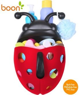 Baby Joy World-【美國 boon 】BUG POD 紅瓢蟲戲水浴室玩具收納盒 (不含配件)【浴收納幫手】