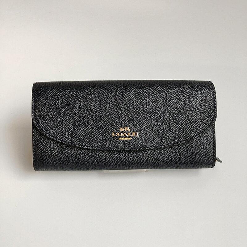 美國百分百【全新真品】COACH 54009 長夾 女款 皮夾 皮包 馬車 信封式皮夾 logo 深藍/黑色 J574