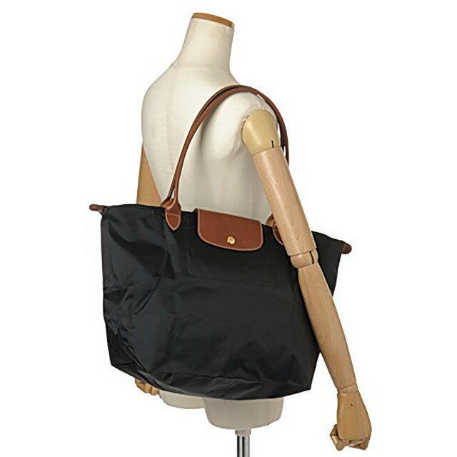 [1899-M號] 國外Outlet代購正品 法國巴黎 Longchamp 長柄 購物袋防水尼龍手提肩背水餃包黑色 3