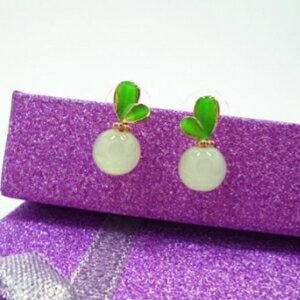 美麗大街【GE438】 綠色葉子糖果色果凍色小清新耳釘耳環耳飾品
