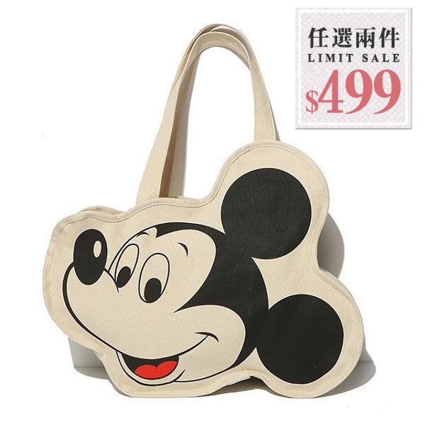 帆布側背包-迪士尼卡通米奇大頭造型帆布包【AN SHOP】