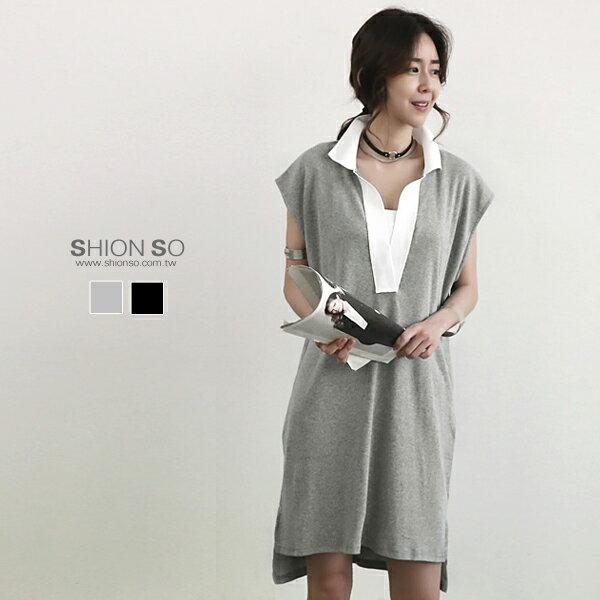 享瘦衣舍中大尺碼【B1142】襯衫式短袖長版上衣&洋裝