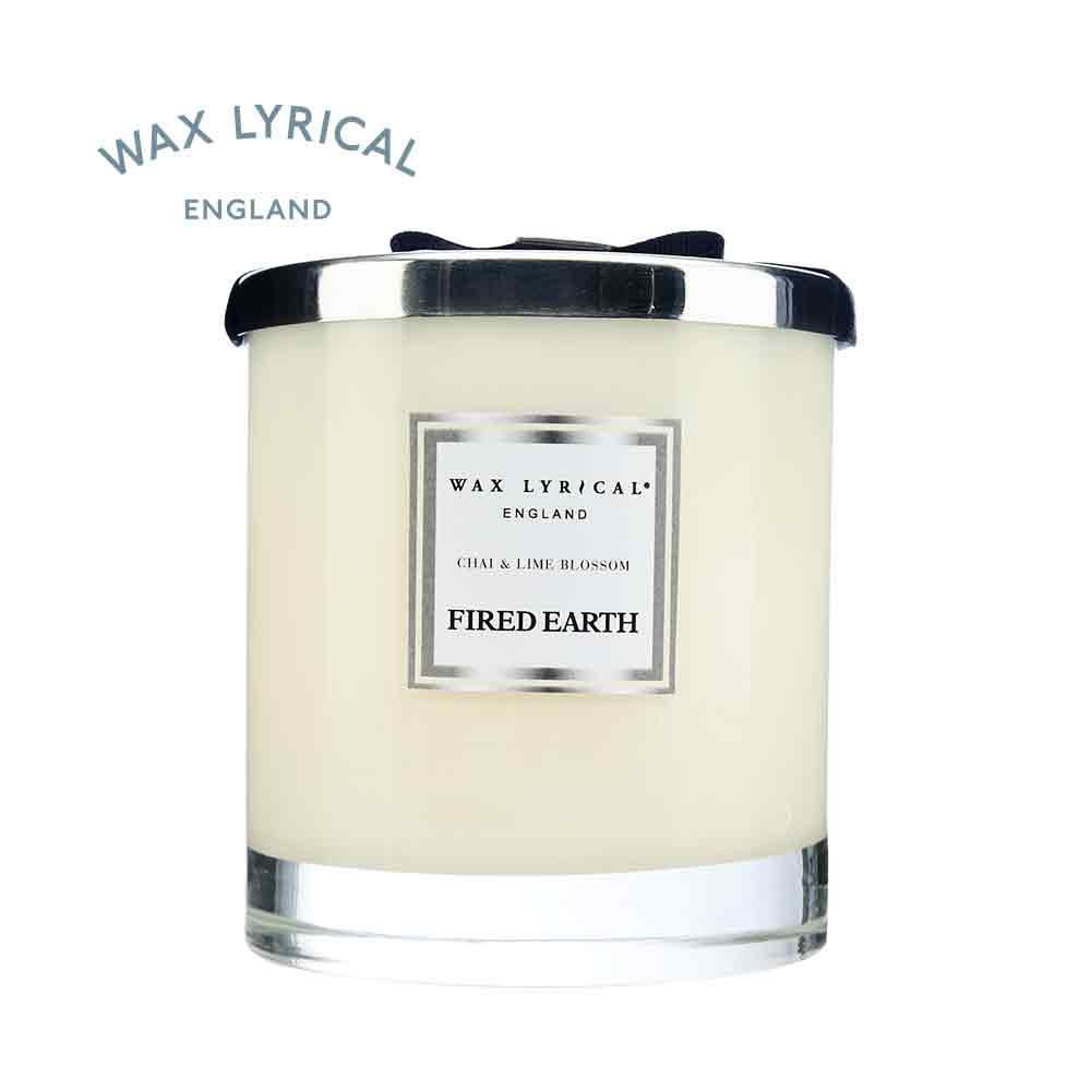 英國Wax Lyrical (FE) 玻璃雙蕊附蓋蠟燭-印度奶茶與青檸花(可燃60小時)