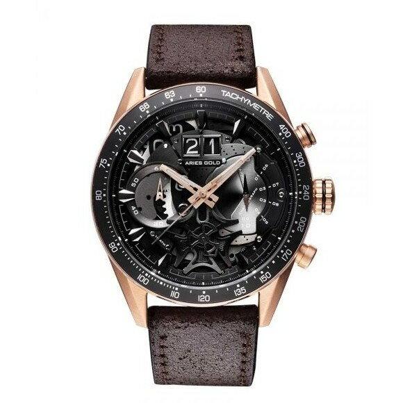 Aries Gold 新加坡品牌 雅力士手錶 JOLTER 皮錶 棕  G 7008 BK-BK 【Watch-UN】