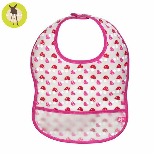 【安琪兒】德國【Lassig】寶寶防水袋型圍兜-粉桃蘑茹