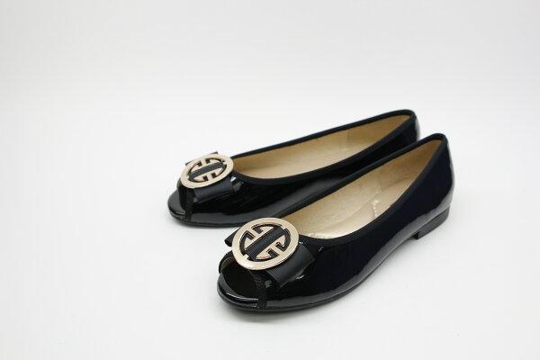 Aimez La Vie:AimezLaVie經典優雅|經典款金屬飾釦真皮平底魚口鞋