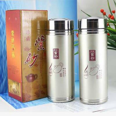 【紫砂保溫杯禮盒裝-400ML-2個/組】原礦紫砂杯 雙環紫砂杯 禮品紫砂杯 保溫杯-7270702