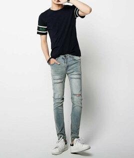 FINDSENSEZ1韓國時尚潮男修身復古藍貓須割破破洞小腳褲九分褲牛仔褲
