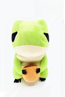X射線【C030096】12吋旅行蛙抱栗子,絨毛填充玩偶玩具公仔抱枕靠枕娃娃