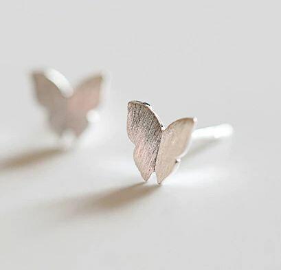 Tokyo Alice 925純銀簡約蝴蝶素面耳環,純銀飾品首飾耳飾貼耳針飾品(se0000025)