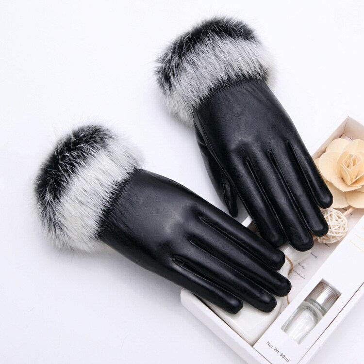 真皮手套保暖手套-羊皮加絨兔毛腕口女手套3色73wm61【獨家進口】【米蘭精品】 1