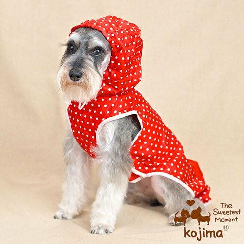 【小樂寵】KOJIMA可收納式點點連帽雨衣/兩色