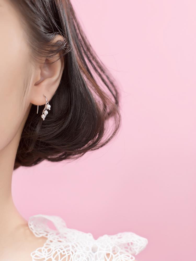 s925銀耳環女韓版小清新貝珠合成珍珠甜美流蘇短款耳飾品♠極有家♠