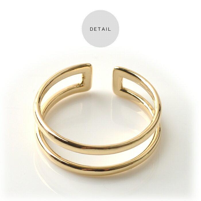 日本CREAM DOT  /  指輪 ダブルライン レディース 重ね着け シルバー ゴールド オープンタイプ ワンサイズ(11号) 細身 華奢リング 結婚式 大人可愛い  /  qc0253  /  日本必買 日本樂天直送(790) 4