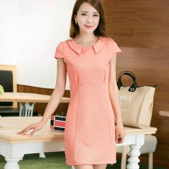 短袖洋裝【心齋橋】韓版新款合身氣質翻領短袖連身裙短袖洋裝FAN1642(現+預)