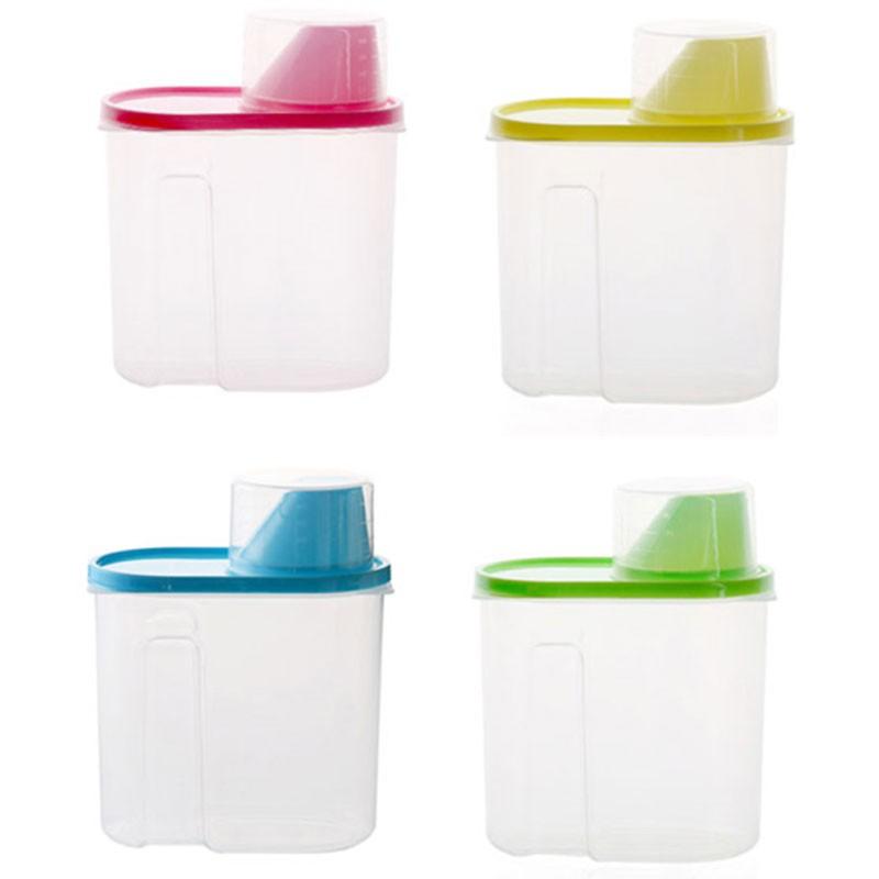 現貨◎塑膠透明量杯密封罐 廚房收納儲物罐 米綠豆紅豆黃豆大豆糖鹽收納罐
