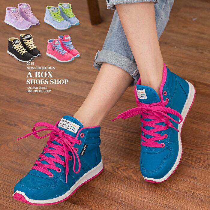 格子舖*【AJ37065】MIT台灣製 韓版撞色女款休閒綁帶布質高筒球鞋 帆布鞋滑板鞋 5色 0
