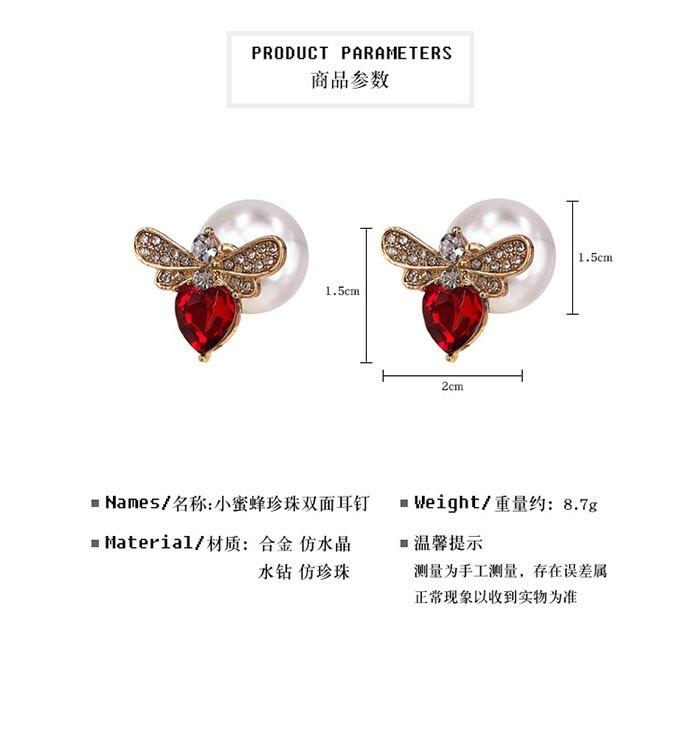 耳環 個性 愛心 鑲鑽 珍珠 甜美 氣質 雙面 耳釘 耳環【DD1812021】 BOBI  03 / 07 1