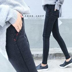 Free Shop 小中大尺碼 中腰鬆緊紅線顯瘦窄管褲 S-5L 共4色 修身小腳褲鉛筆褲純色百搭【QCCAV1026】