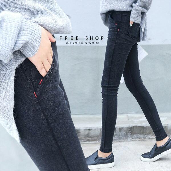 FreeShop小中大尺碼中腰鬆緊紅線顯瘦窄管褲S-5L共4色修身小腳褲鉛筆褲純色百搭【QCCAV1026】