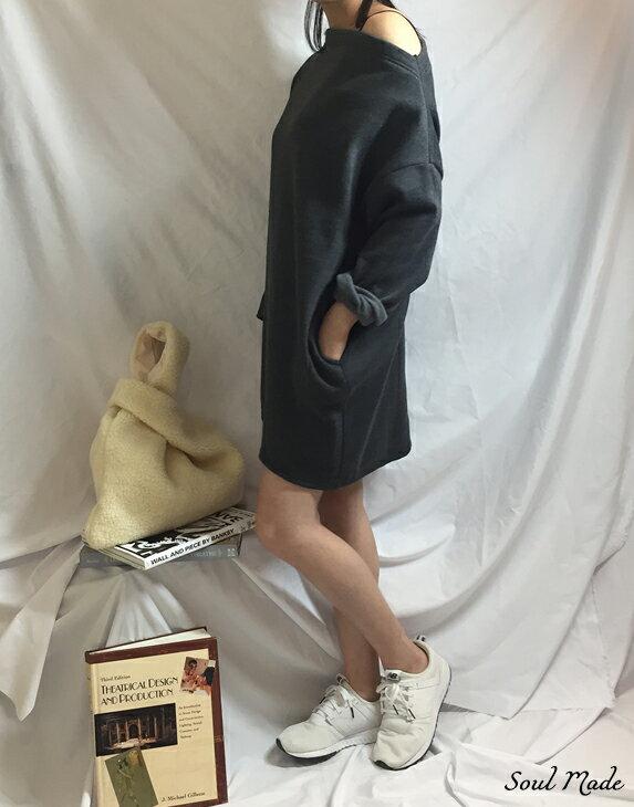 Soul Made - 韓製 平領內刷毛側口袋長版衣 4色 2