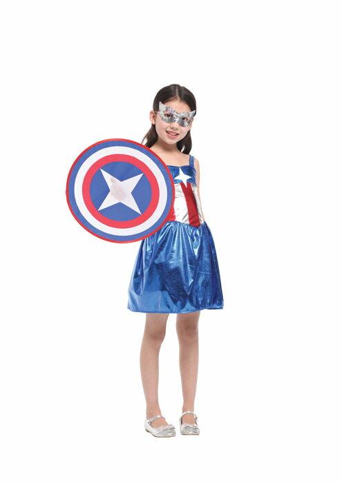東區派對~ 萬聖節服裝 萬聖節服飾 變裝派對 美國隊長  兒童變裝服~俏麗小戰士