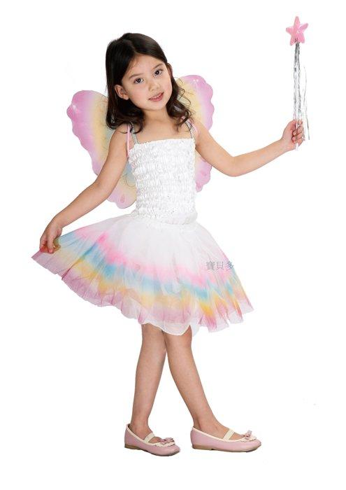 東區派對~ 萬聖節服裝 萬聖節道具 聖誕節 兒童變裝服~三件式彩虹公主裝扮組