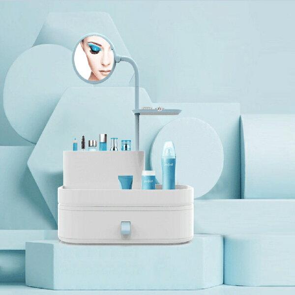 潘朵拉綠色生活概念館:美娜甜心法式化妝鏡梳妝盒化妝品收納盒(絲緞藍)