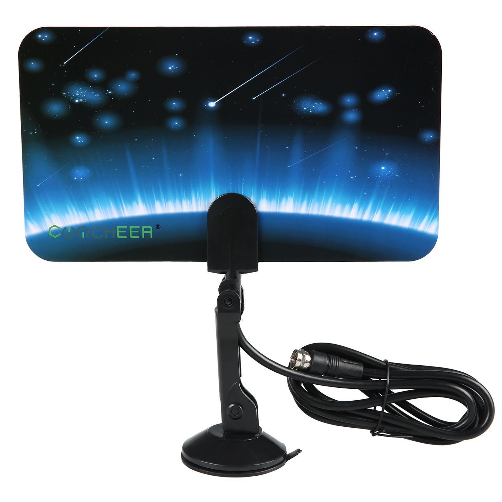 Digital TV Antenna Signal HDTV DTV Box Ready HD VHF UHF FM Stereo Flat Design 0