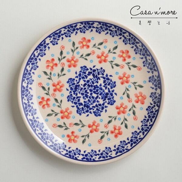 波蘭陶藍印紅花系列淺底圓形餐盤陶瓷盤菜盤點心盤圓盤沙拉盤19cm波蘭手工製