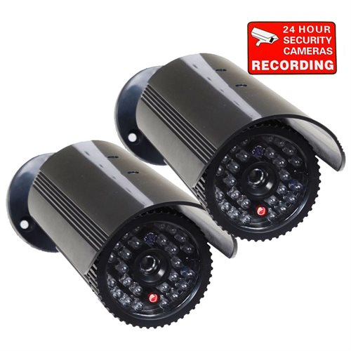VideoSecu 2 CCTV Fake Dummy Imitation IR LED Flashing Light Home  Surveillance Camera FREE Decals 3RH