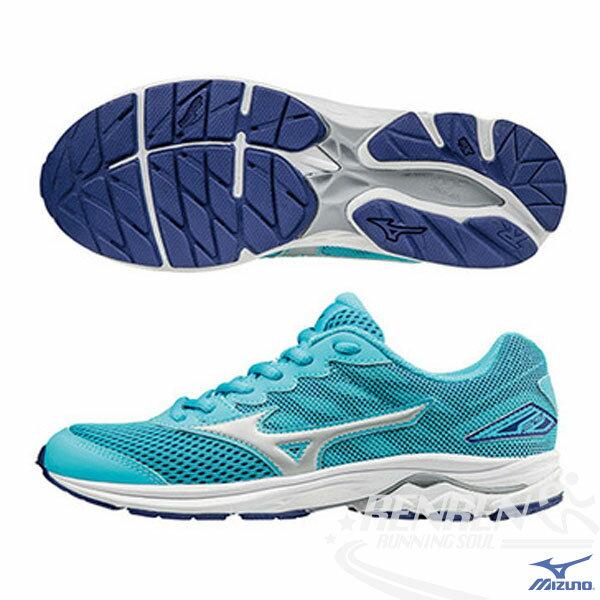 MIZUNO 美津濃 WAVE RIDER 20 Jr.  大童鞋(水藍*白) 親子鞋