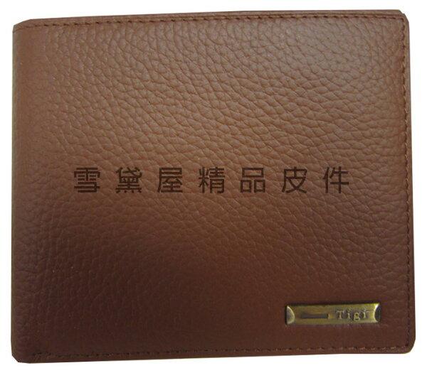 ~雪黛屋~TIGI短夾專櫃男仕短型皮夾100%進口牛皮革材質標準尺寸活動型證件夾BTG0711340