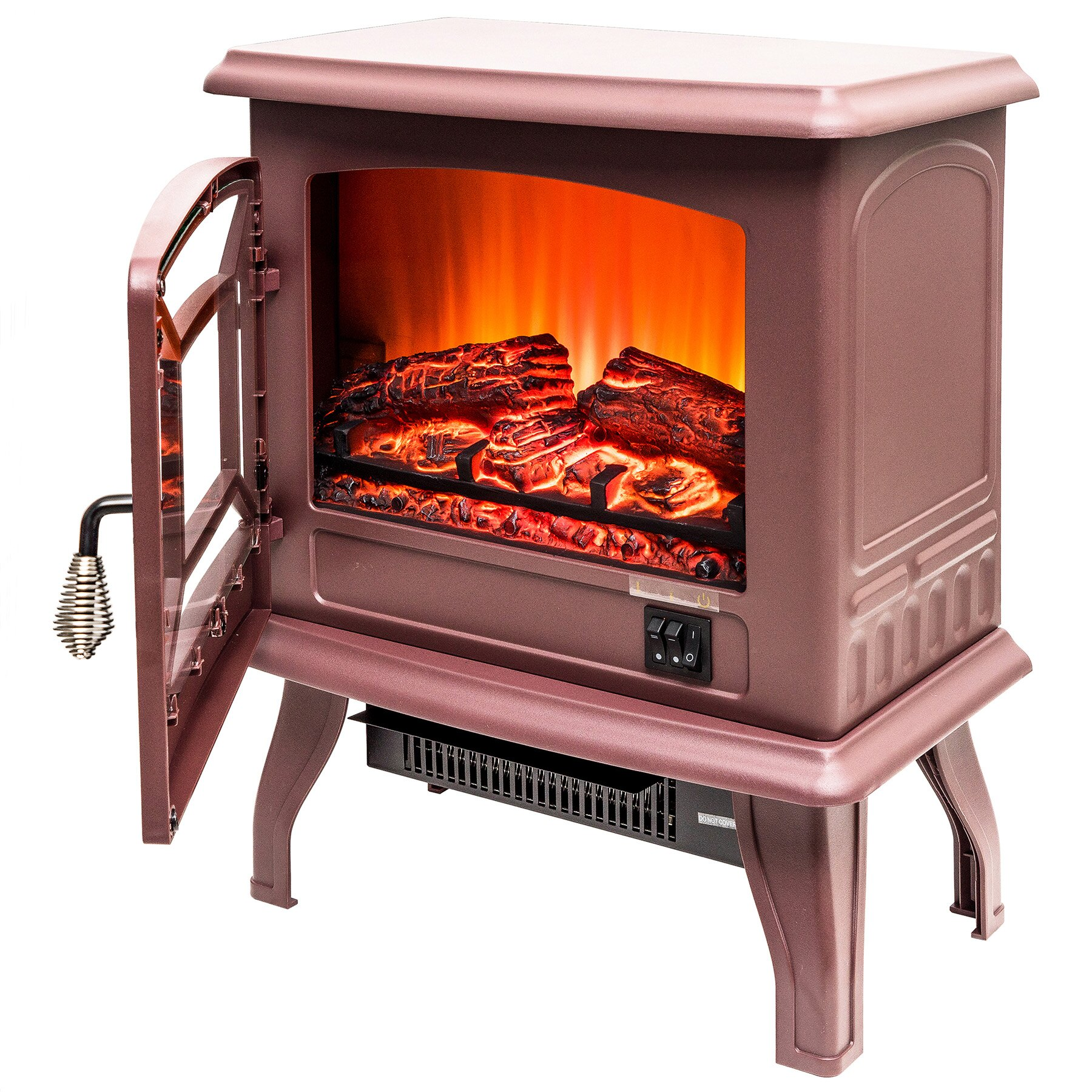 "AKDY 17"" Freestanding 2 Setting Level Electric Fireplace Heater Stove 3"