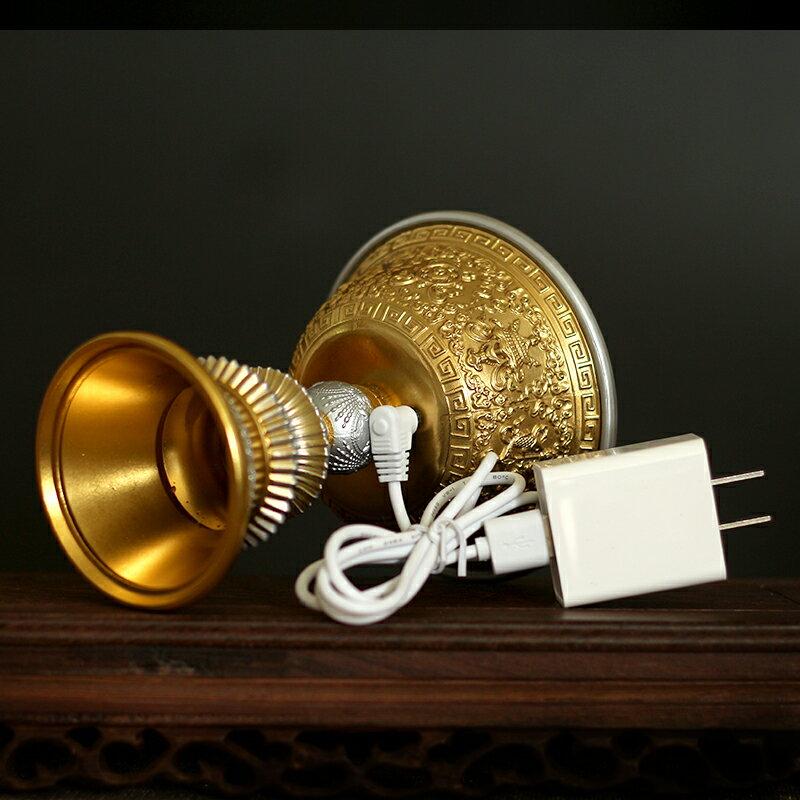 純銅電子酥油燈充電式純銅酥油燈家用環保電子充電燈插電充電兩用