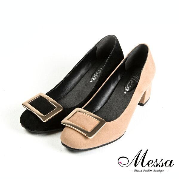 【Messa米莎專櫃女鞋】MIT雅緻品味細絨方釦內真皮高跟包鞋-二色