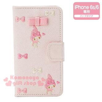 〔小禮堂〕美樂蒂 iPhone6/6s麂皮掀蓋式裝飾殼《刺繡.粉.粉白蝴蝶結》完整包覆