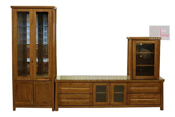 【尚品傢俱】790-13 瓦拉夫 黃金柚木半實木高低櫃/客廳展示收納櫃組/居家電視櫃組