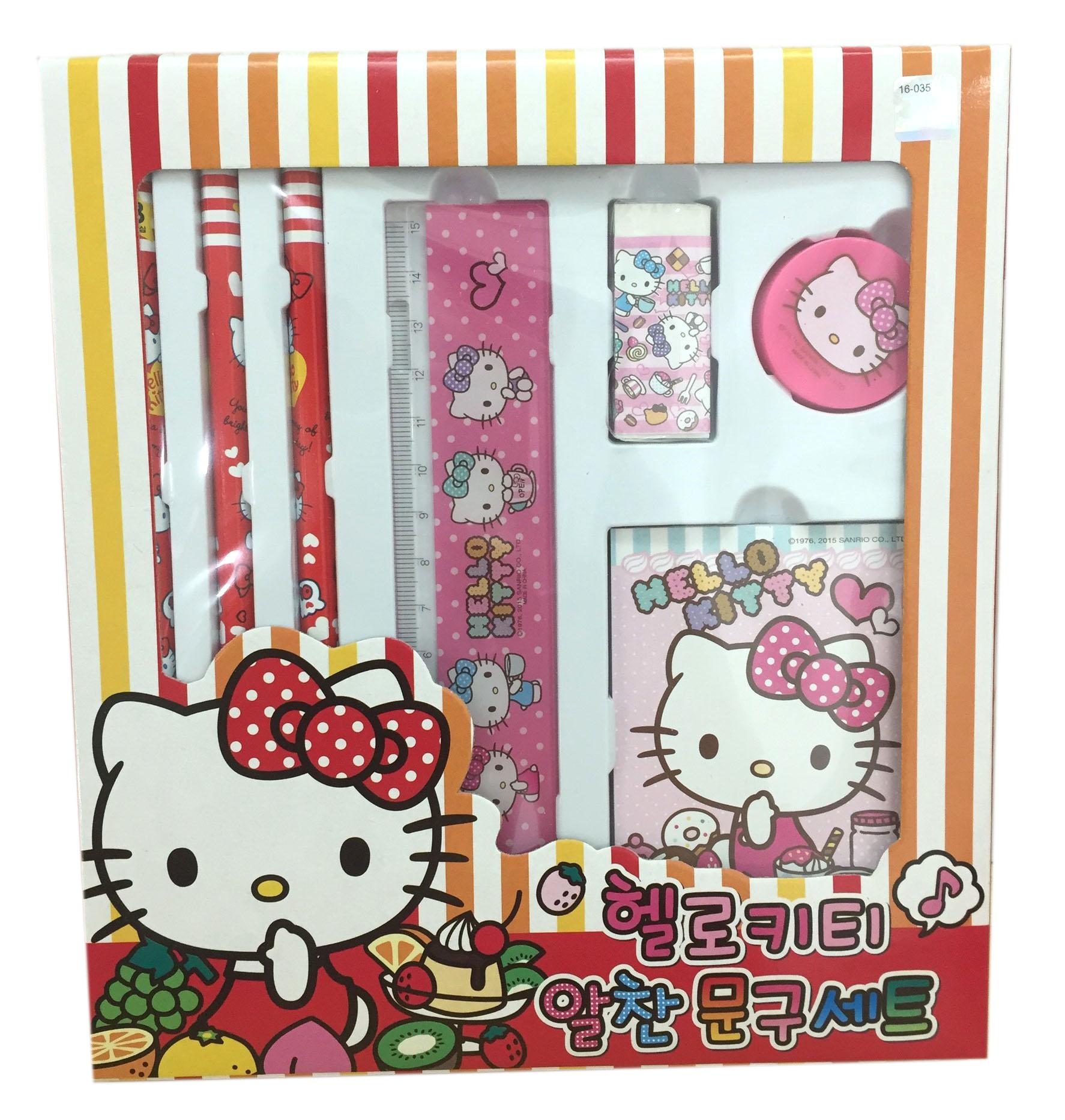 【真愛日本】16071200014文具組-KT水果粉    三麗鷗 Hello Kitty 凱蒂貓 文具用品