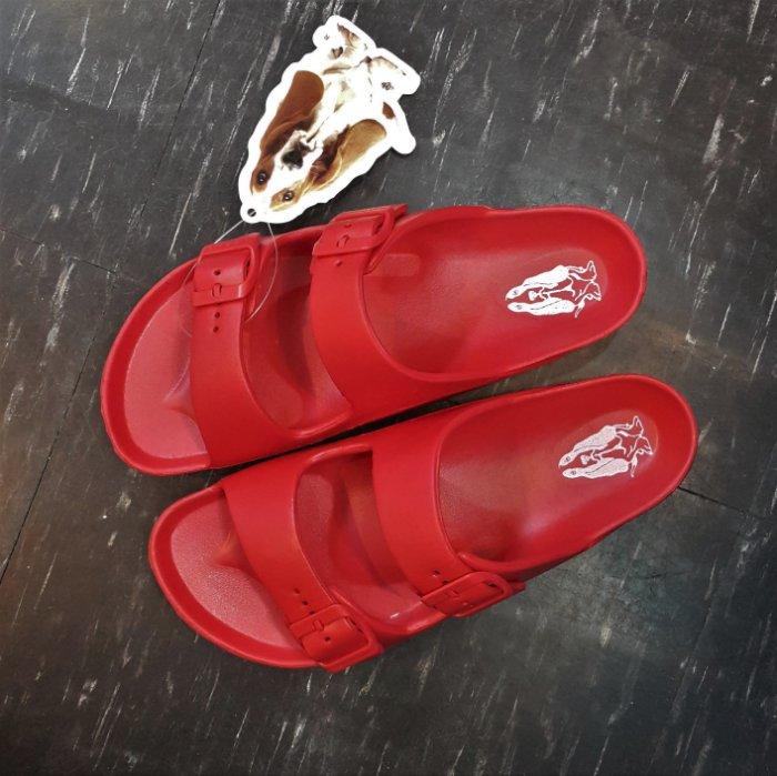 Hush Puppies 巴吉度 狗狗 涼鞋 拖鞋 紅色 雙帶 扣帶 不怕水 防水 EVA橡膠 類勃肯涼鞋 附贈輕旅包