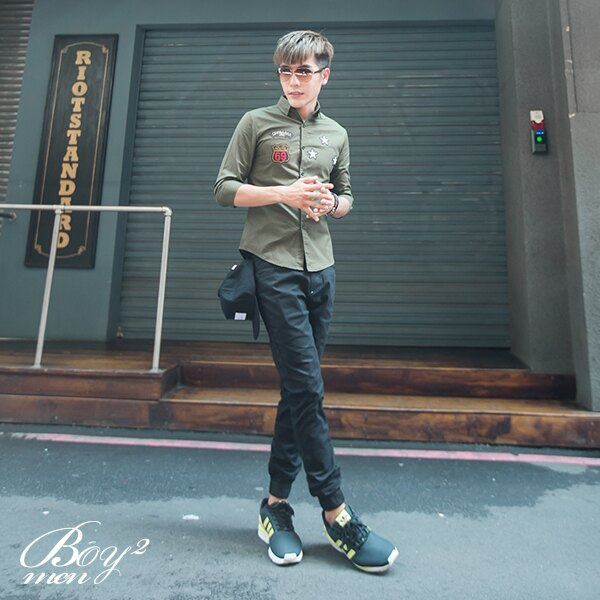 ☆BOY-2☆ 【PPK87015】美式潮流星星電繡七分袖襯衫 4