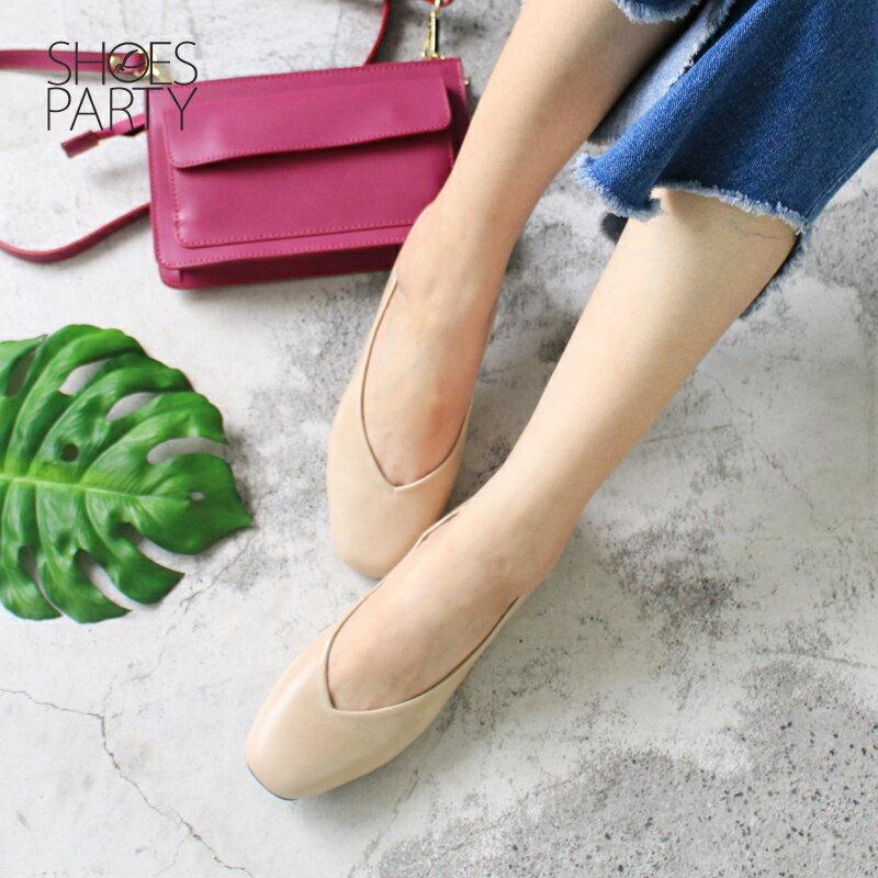 【P2-17607L】 小方頭平底鞋_Shoes Party 3