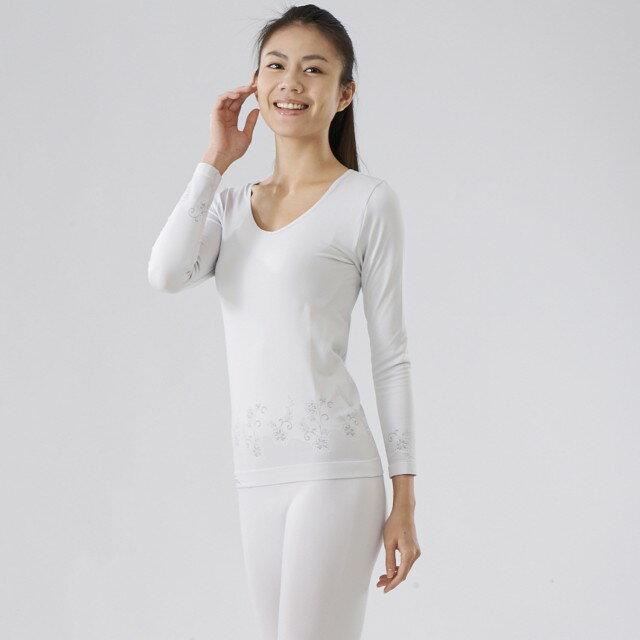【MACPOLY】台灣製造 / 女奈米白竹炭保暖美體塑身大V領無痕高彈力長袖套裝-內衣+內褲(米白色)