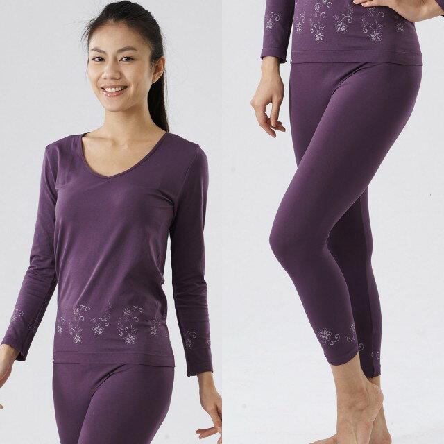 【MACPOLY】台灣製造 / 女奈米白竹炭保暖美體塑身大V領無痕高彈力長袖套裝-內衣+內褲(紫色)