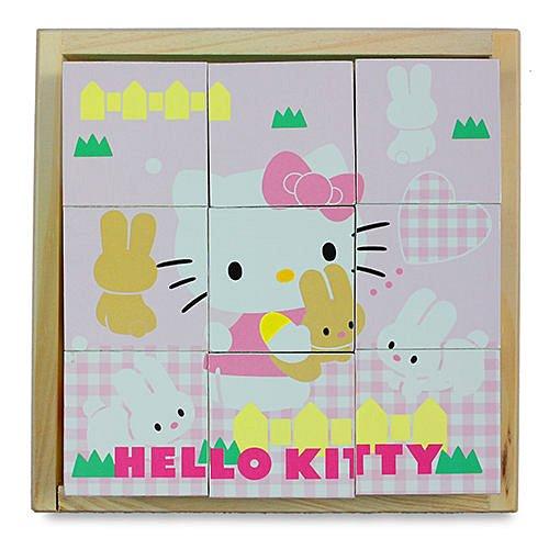 【HELLO KITTY】可愛方塊拼圖(木製)【六甲媽咪】