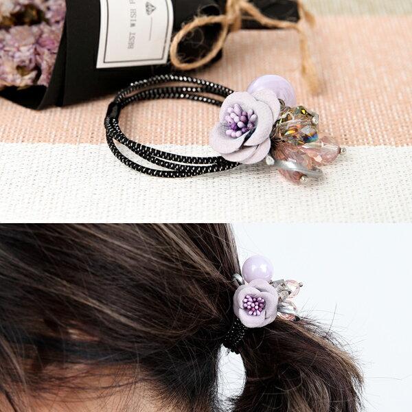 <br/><br/>  髮束 紫色花朵三線髮飾-韓貨 韓國帶回 柒彩年代【NXA25】<br/><br/>