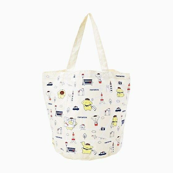 【真愛日本】17062300015 可收納環保手提袋-PN旅行+AAS 三麗鷗 布丁狗 手提袋子 購物袋 收納袋
