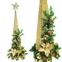 幫家裡聖誕佈置裝飾到90CM檳金色系聖誕裝飾四角樹塔(不含燈)YS-XDS016020