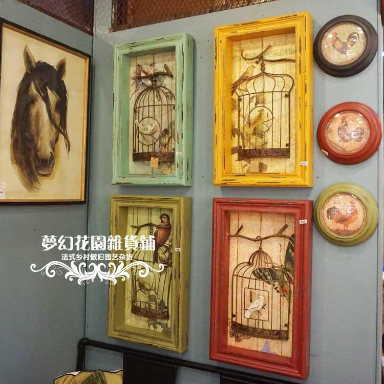 北歐家居風格做舊鳥籠壁飾酒吧咖啡廳店鋪櫥窗展示墻飾裝飾擺件1入