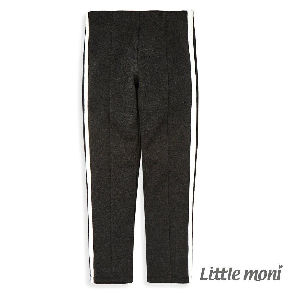 Little moni 側邊壓條彈性合身褲-鐵灰(好窩生活節) - 限時優惠好康折扣